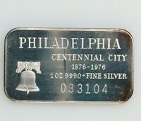 Vintage 1976 Philadelphia Centennial City By Madison Mint 1oz 999 Silver Art Bar