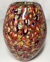 "Vintage Murano Glass Vase Heavy Hand Blown Millefiori Style 8""x5.5"""