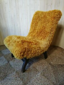 Fab Vintage Retro Mid Century Petite Yellow Furry Cocktail Bedroom Accent Chair