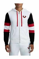True Religion Men's Stripe Buddha Zip Up Paneled Hoodie Sweatshirt Small S NWT