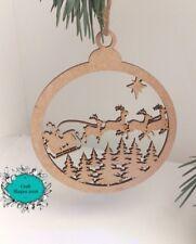 Decoración de árbol de Navidad Bolas, Navidad, Silueta, Santa, Copos de nieve, árbol