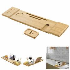 Bamboo Bathtub Caddy Tray Bath Shelf Rack Tablet Phone Wine Glass Soap Holder