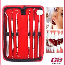 6er Dental Set Zahnsteinentferner Zahnreinigung Mundspiegel Zahnpflege Pinzette