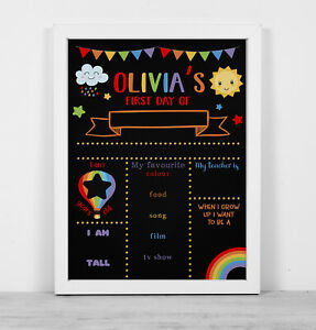 Personalised framed blackboard print reusable first day school red rainbow