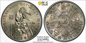 1930 AUSTRIA 2 SCHILLINGS SILVER VOGELWEIDE PCGS MS62 BU