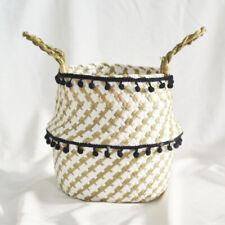 UK Handmade Weaving Flower Plants Pots Laundry Belly Basket Garden with Pom Pom
