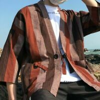 Mens Japanese Kimono Jacket Linen Cotton Tops Striped Coat Loose Cardigan Casual