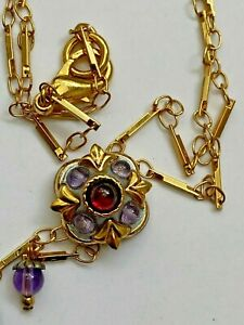 Delicate 24k Gold Necklace Red Garnet + Purple Amethyst Gemstone Michal Golan