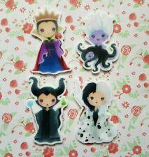 4 x Disney Villains Flatback Planar Resin Embellishment Craft Bow Decoden