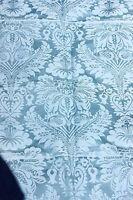 Exquisite French Antique Blue Lyon Silk Damask Textile Fabric c1870~Frame Layout