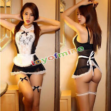 Sexy Women French Maid Lingerie Valentine Costume Cosplay Outfit Fancy Dress NEW