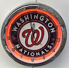 "16"" Washington Nationals Sign Red Neon Clock"