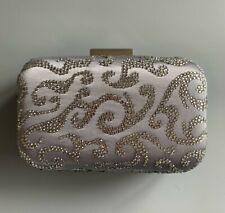 Lunar grey satin clutch bag with diamanté's, silver chain, BNWT, rrp £59.99