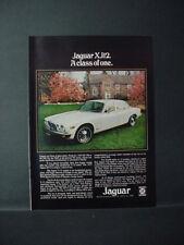 1975 Jaguar XJ12 A Class of One British Leland Car Vintage Print Ad 11362