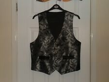 "Black & Dark Silver Patterned Waistcoat Approx Size 40"". Suit, Wedding, etc"