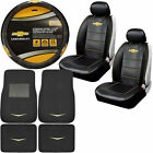 11pc Classic Chevy Logo Car Truck Suv Front Rear Floor Mats Seat Covers Swc