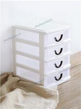 Mini Desktop Cabinets Storage Box Case Holder Bins 4 Drawers Organizer White