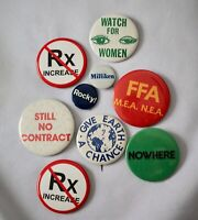 Lot of 9 POLITICAL buttons pins FFA Rocky! Milliken NOWHERE Give Earth a Chance