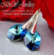 925 Sterling Silver Earrings Made With Swarovski® OVAL Bermuda Blue AB -12mm