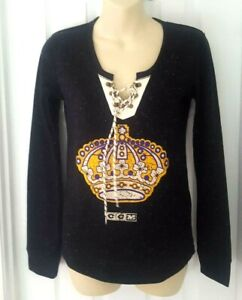 LOS ANGELES KINGS Womens Shirt Size Small Lace Up Knit Henley Distressed Logo