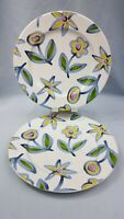 """Pottery Barn """"Bunch"""" Salad Plates Set of 2  Florals Blue Green Yellow Pink Japan"""