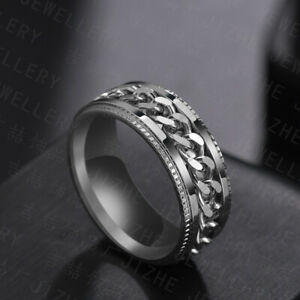 Titanium Stainless Steel 8mm Spinner Ring Curb Chain Men Women Band Size 6-13