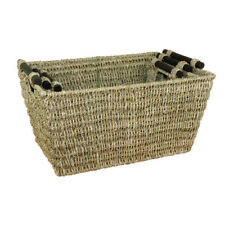 JVL Set of 3 Seagrass Storage Baskets with Wooden Handles