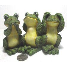 """3 wise frogs (monkeys) 5.5""""x3.8"""" resin figure No Evil ctn"""