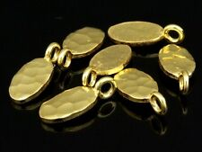 KG-380 THAI KAREN HILL TRIBE SILVER 8 GOLD VERMEIL HAMMERED OVAL DISC CHARM