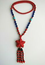 Carved Cinnabar Pendant with Cinnabar & Other Beads Necklace.