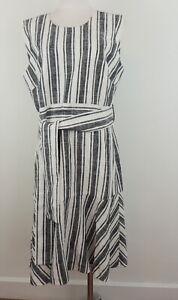 J.Crew Black Label 16T Linen Dress Striped Belted Fit & Flare Lined