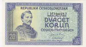 20 KORUN AUNC BANKNOTE FROM CZECHOSLOVAKIA 1945 PICK-61