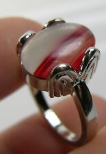 #10 Brazil 100%  Natural Oval Cabochon Agate Carnelian Ring Size 6.5