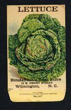 ANTIQUE 1918 LETTUCE BIG BOSTON SEED PACKET / ROUDABUSH SEED STORE, N.C. R-083