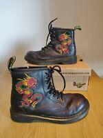 Dr martens 1460 Embroidery Lounge Liz Dragon black red UK 2 EU 34 Girls Boots