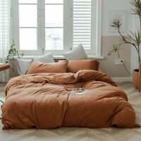 Rust Washed Cotton Duvet Cover Set Soft Warm Bedding Vintage Breathable Quilt