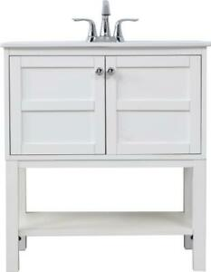 BATHROOM VANITY SINK CHEST CONTEMPORARY SINGLE WHITE CHROME BLACK SOLID WOO