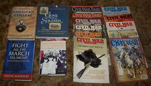 4 CIVIL WAR HARDCOVER BOOKS, SHERMAN, MEMOIRS, BIOGRAPHIES, & 11 MAGAZINES