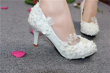 Lace Pearl Wedding shoes Bridal bridesmaids flats low high heel pump wedge 5-12