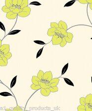 DeBona - Papier peint,citron vert fleur ,motif floral et feuilles,Rouleau crème