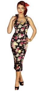 British Retro Sz14 Halterneck black floral 50s Halter Wiggle Dress Worn Once £60