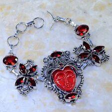 """Handmade Jasper Antique Carved Face 925 Sterling Silver Bracelet 8.5"""" #K64550"""