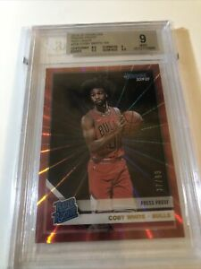 Coby White 2019-20 Donruss 206 Choice Infinite Red Parallel RC 77/99 BGS 9 Bulls