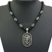 8mm Black Onyx Beads Men Silver Lion Shield Pendant Stainless Steel Necklace Set