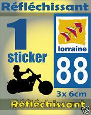 1 Sticker REFLECHISSANT département 88 rétro-réfléchissant immatriculation MOTO
