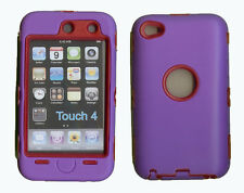 Built in Screen Protector Case / Cover for iPOD TOUCH 4 PURPLE / RED Free Stylus