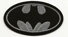 Black & Silver Batman Embroidered Patch Iron-on Art Good Luck Charm