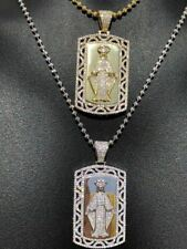 Solid 925 Silver Virgin Mary Mother Of Jesus ICY Diamond Men's Dog Tag Pendant