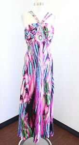 Guilia Pink Blue Abstract Print Sequin Beaded Formal Evening Prom Dress Size 12