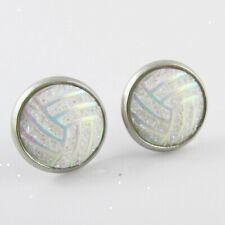 Glitter Netball Stud Earrings 14mm Stainless Steel